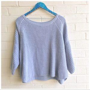 Free People Ryanne Blue Knit Wide Sleeve Pullover